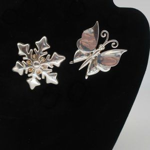 VTG TWO Best Silver Snowflake & Butterfly Brooches